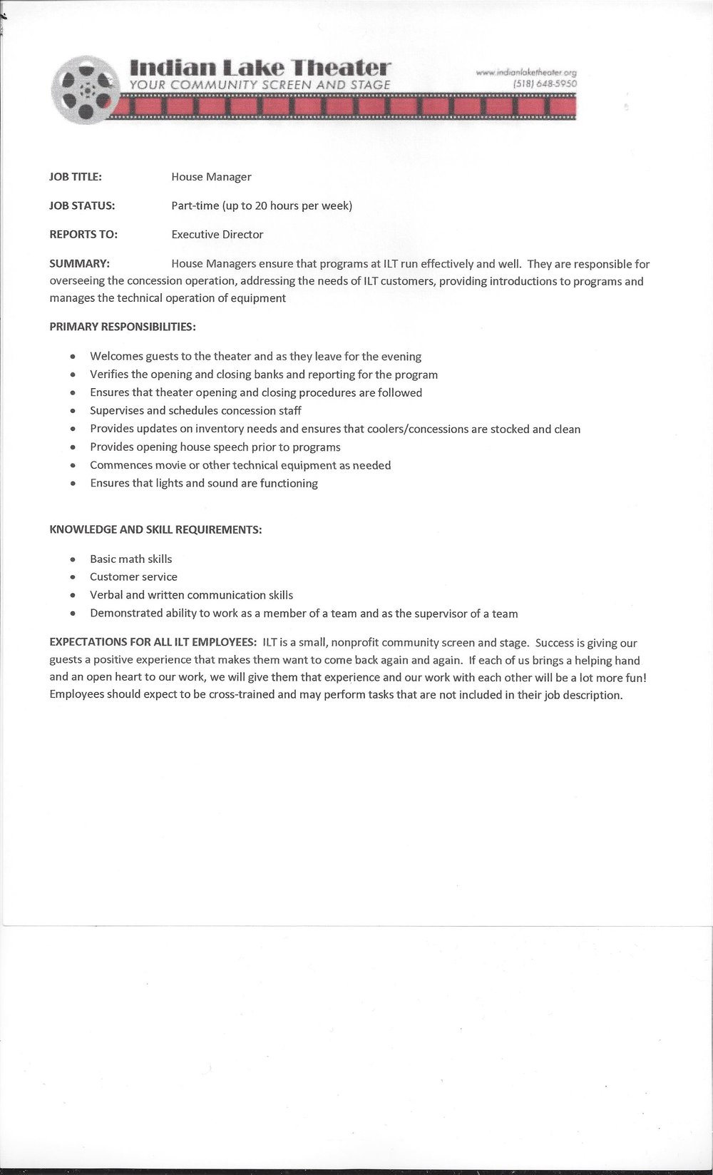 House Manager Job Description — Indian Lake Theater