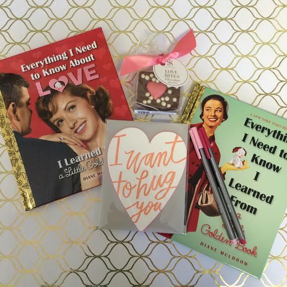 "Package B: ""Everything I need to know I learned from ""A Little Golden Book"""" OR ""Everything I need to know about Love"", ""I want to hug you"" greeting card, Valentine pens and Saxon Chocolate. ($43)"