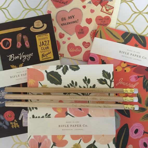 Package E: Rifle Paper Company journal/ notebook, greeting card and pencils ($34)