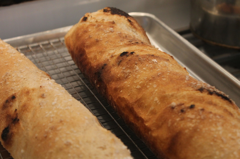 Grilled baguettes, an amazing crust on this but a bit burnt.