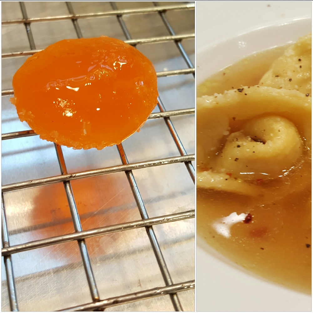 Two seasonally colored experiments from this week: Cured Egg Yolks (from liquid gold to solid gold) and Roasted Squash & Bacon Tortellini (in Chicken Consomme obvs).