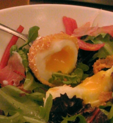 A 6-minute scotch egg and pickled radishes atop a salad whose vinaigrette was made with schmaltz as the fat. This was one of the most surprising and delightful dishes I've ever had at any restaurant as well as one of the most filling salads.