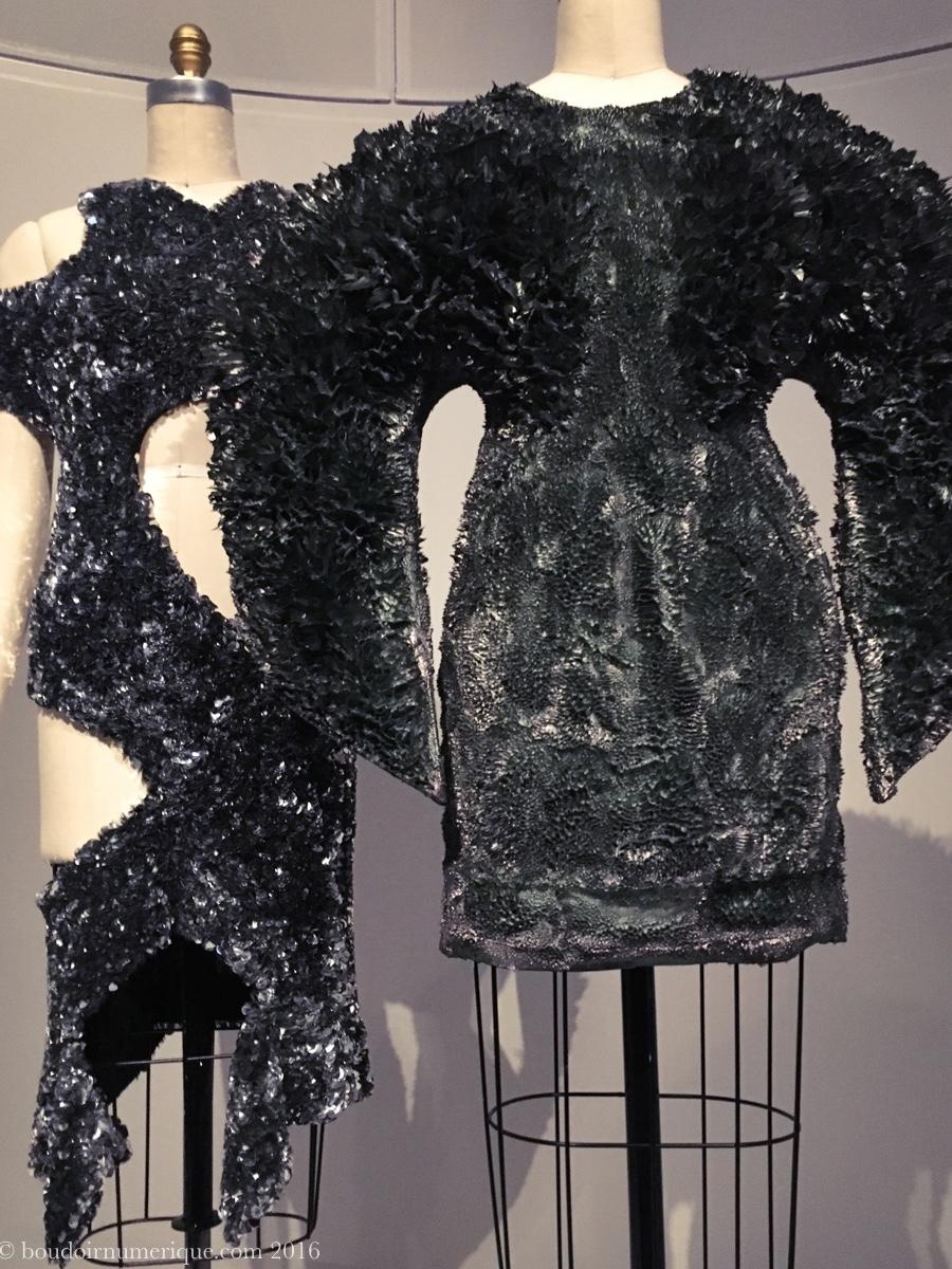 Robe Iris van Herpen en poudre de métal sculptée à la main avec des aimants (collection haute couture, automne/hiver 2013-2014). Photo : Boudoir numérique.