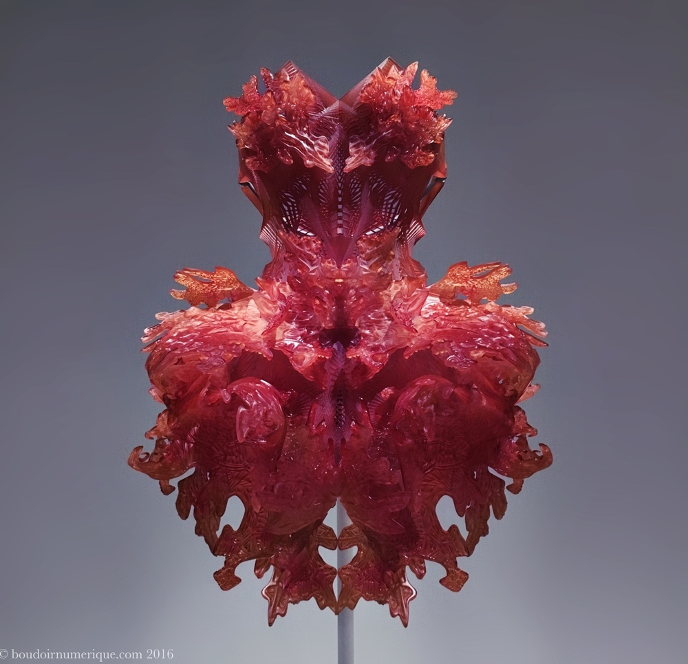 Robe en 3D printing d'Iris van Herpen. Photo : Boudoir numérique.