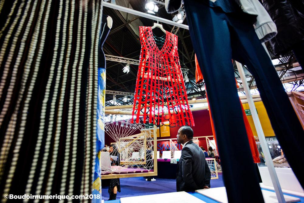 """""""Dress #4 for compostable fashion"""" by Sylvia Heisel, at Première Vision Paris, September 20, 2018 (©Lionel Samain for Le Boudoir Numérique)"""