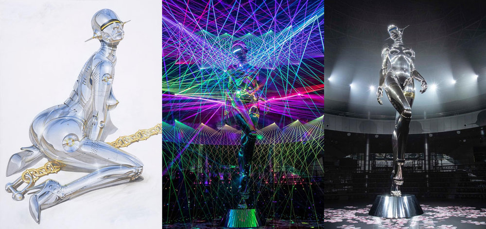 From left to right, illustration by Hajime Sorayama and two pictures of his giant goddess robot, at Dior men's pre-fall 2019 show, in Tokyo, November 30, 2018