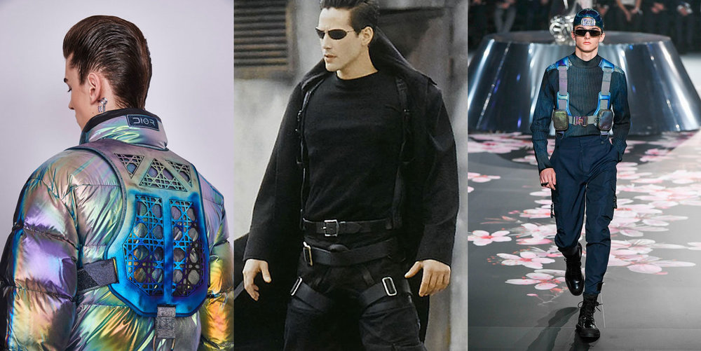 From left to right, Dior men's pre-fall 2019 show, in Tokyo, November 30, 2018 and, in the middle, Keanu Reeves in The Matrix (1999)