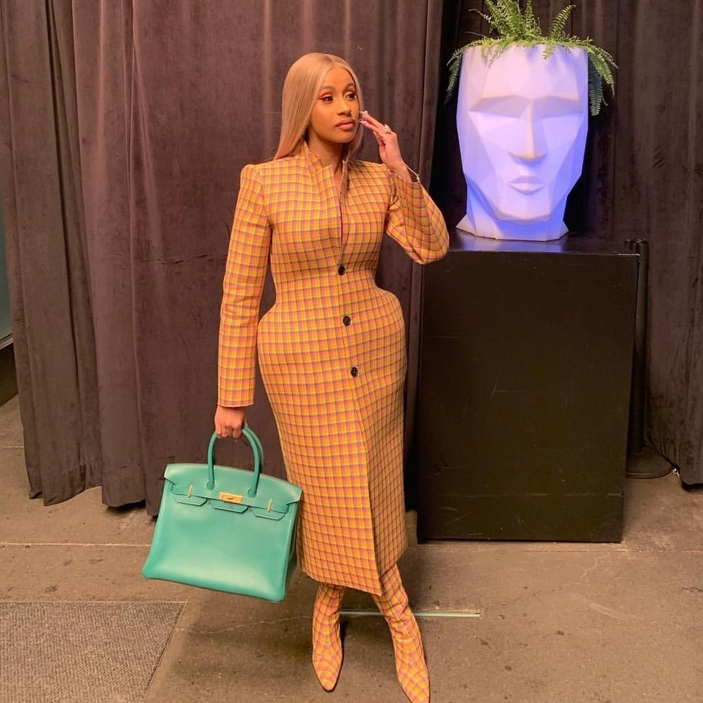 Picture of singer Cardi B, in 3D Balenciaga coat, posted on Instagram, 27th November, 2018