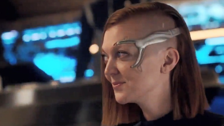 Lt. Keyla Detmer (Emily Coutts), augmented human with an electronic head gear (episode 1).