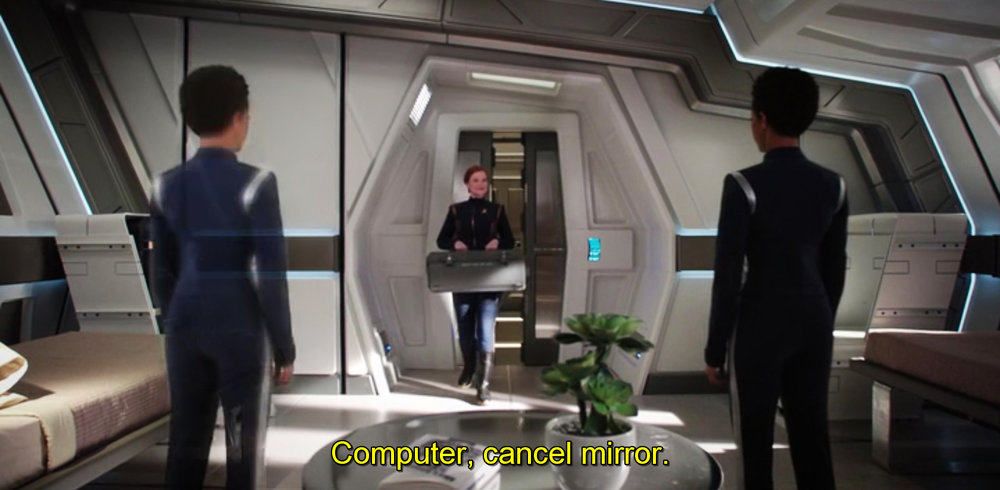 Michael Burnham's virtual mirror that closes itself on vocal command (episode 4).