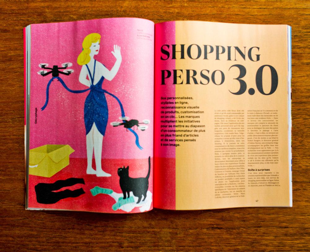 """Article """"Shopping perso 3.0"""" dans le magazine belge Le Vif Weekend, en date du 21 mars 2019"""