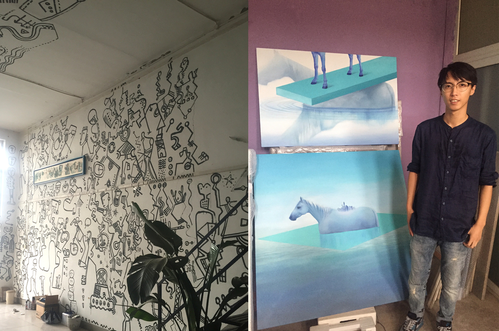Artists studios in Songzhuang Art Village. Zhang Xin with his paintings on the right