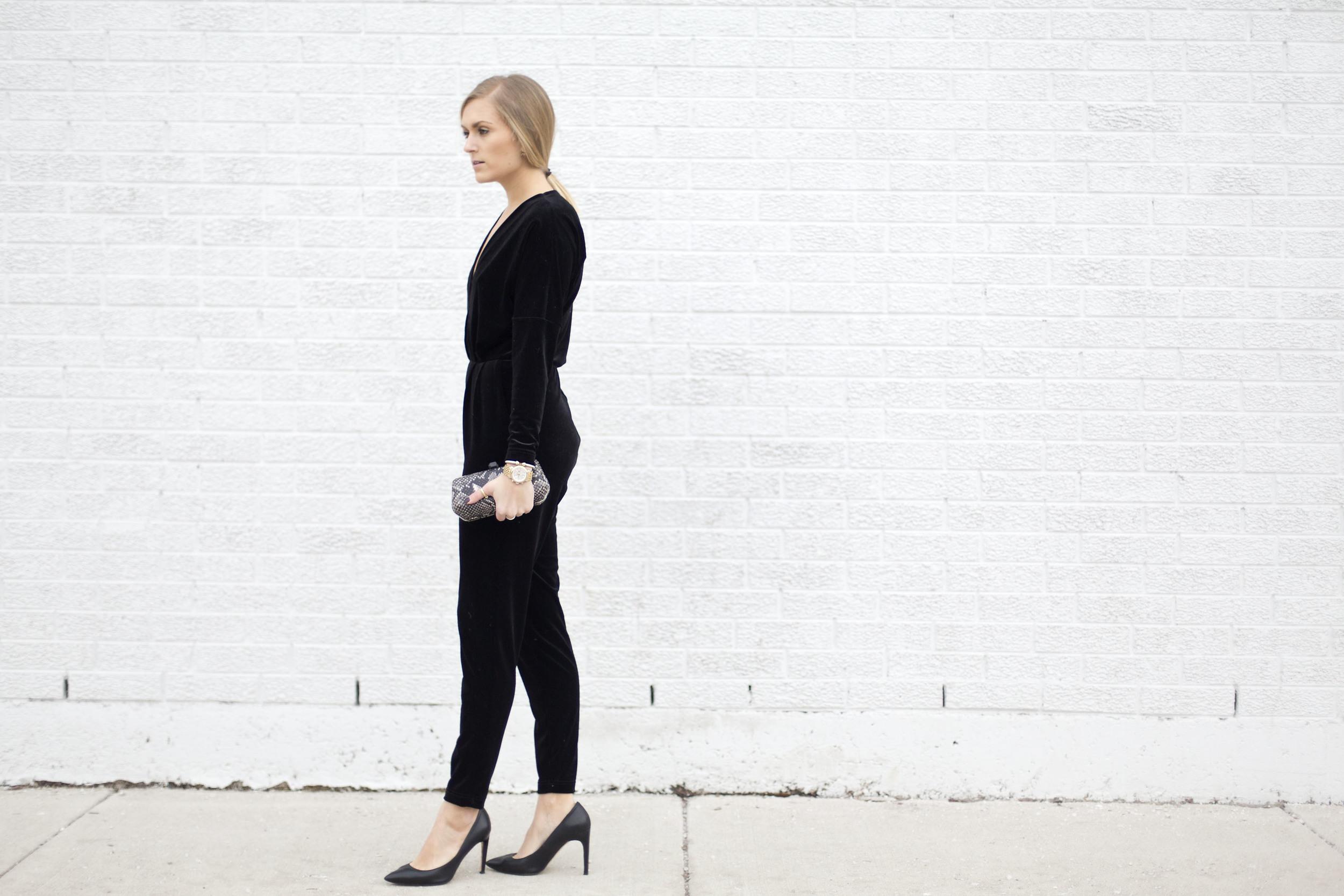 3edfc2816831 Cocktail attire  velvet jumpsuit — Those White Walls