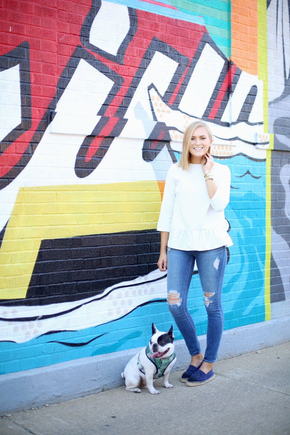 peplum top and french bulldog