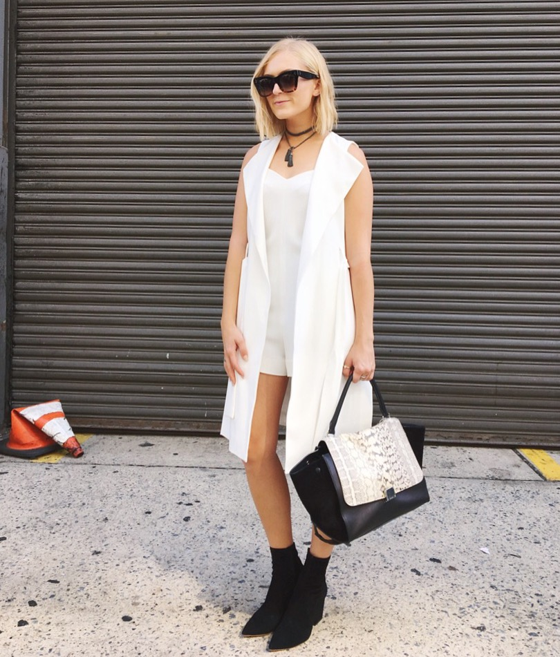 Romper: L'agence Vest: Zara Shoes: Loeffler Randall Bag and Sunglasses: Céline Necklace: Just The 2 Of Us Jewelry