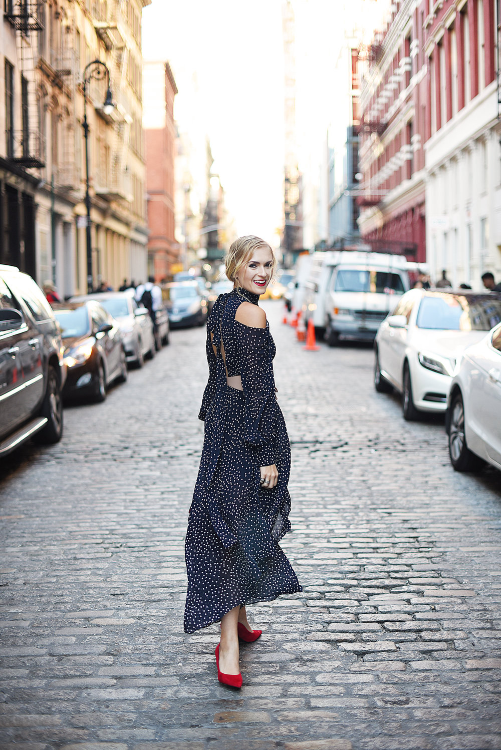 blonde girl polka dot dress red lips new york fashion week