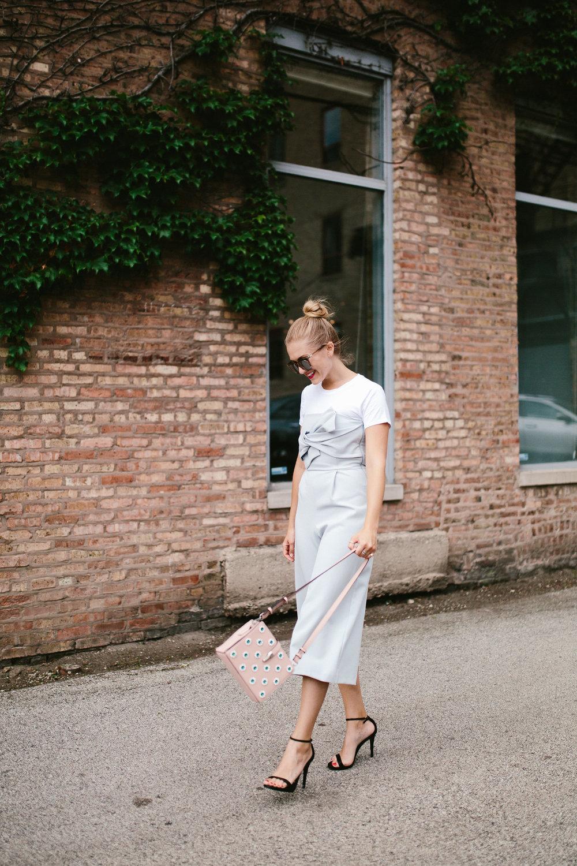 walking smile blue jumpsuit work wear look
