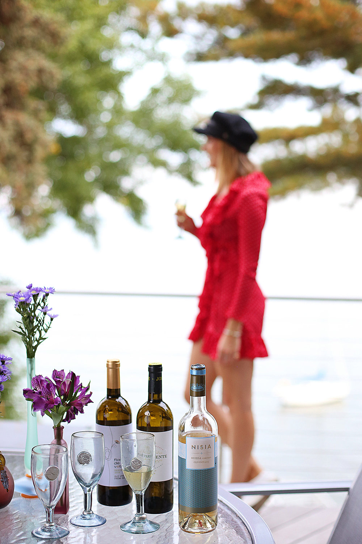 wine balcony lake view