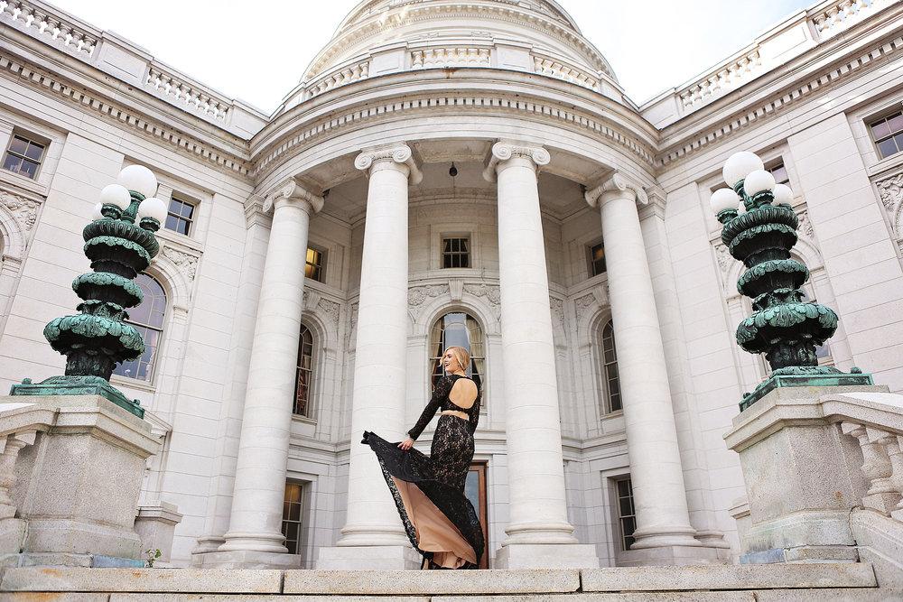 blonde girl rachel allan gown wisconsin capital building