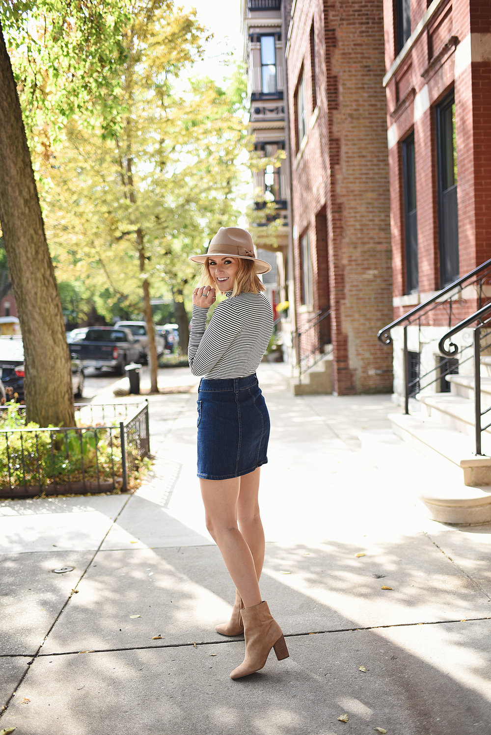 jean skirt turtleneck fall chicago