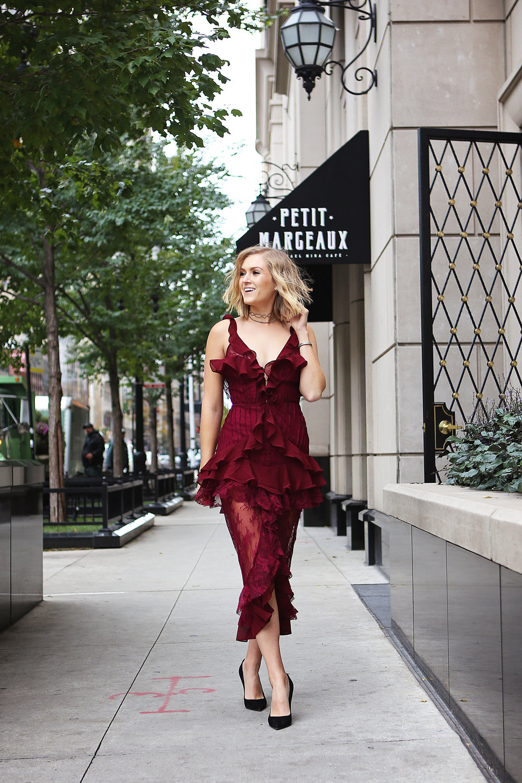 burgundy holiday dress