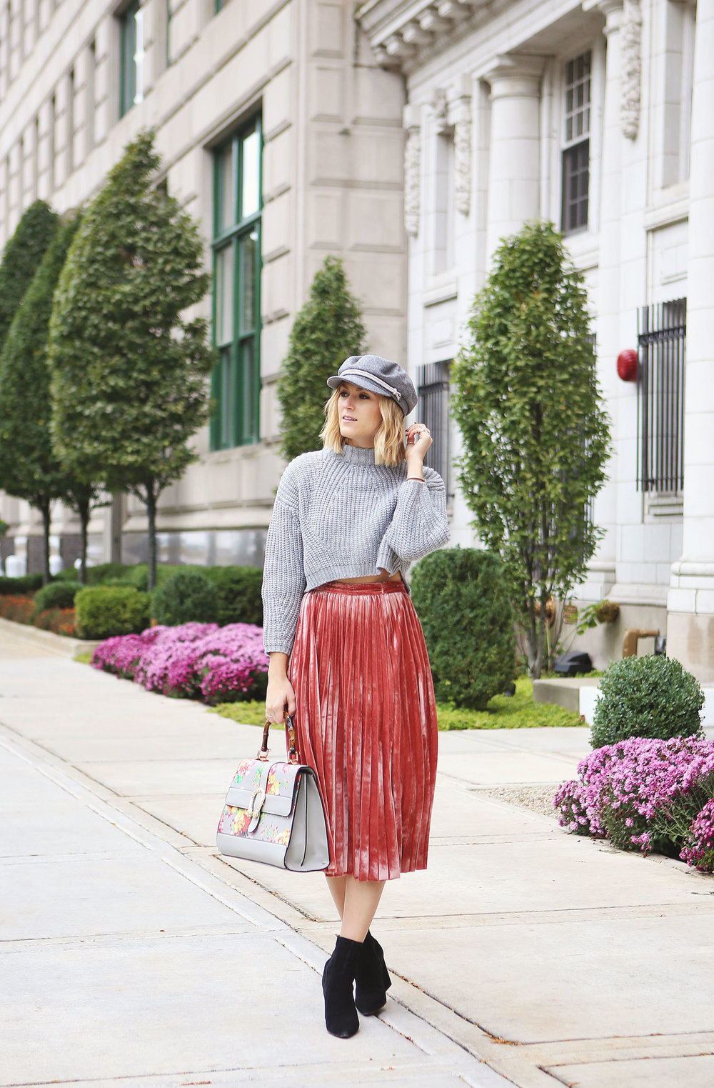 pink velvet skirt grey cropped sweater