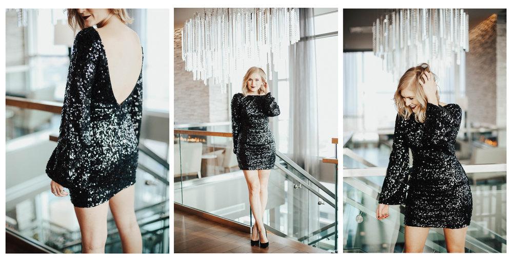 rachel allen black sequin new years dress