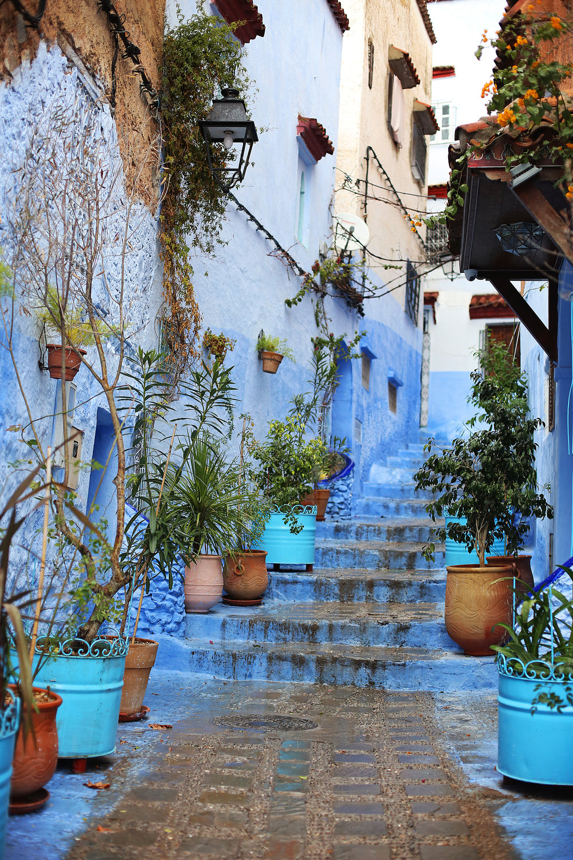 blue street chefchaouen morocco