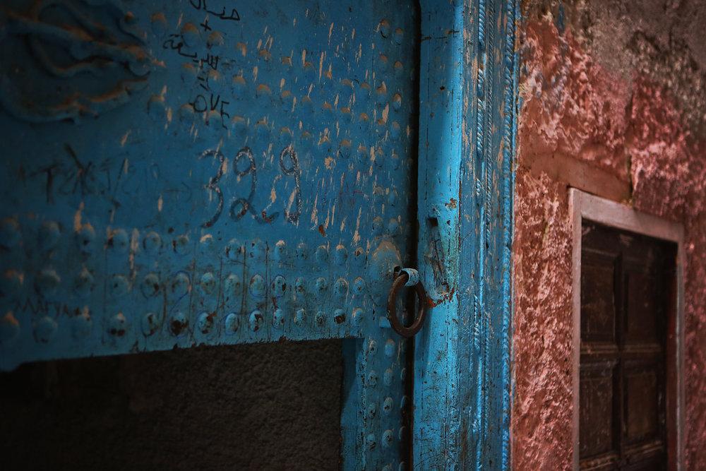 mezuza blue door fes morocco