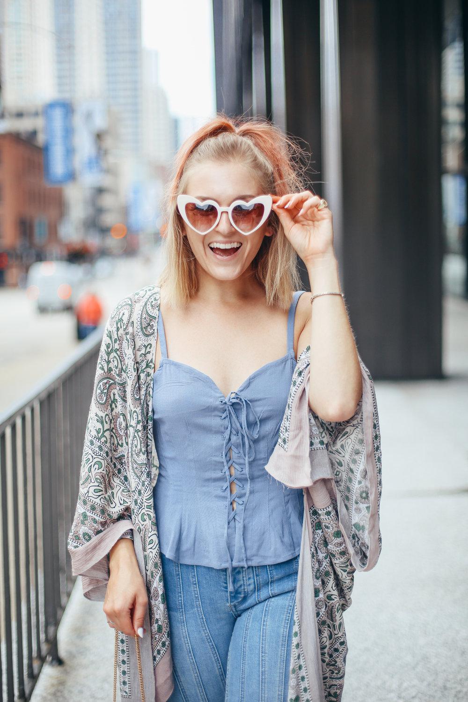 pink hair heart sunglasses festival season