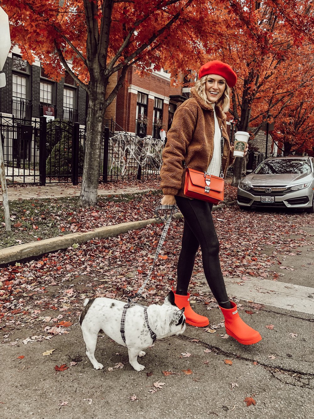 Fall Outfit with Red Hunter Boots