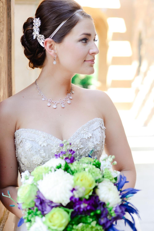 Sara Gabriel hair piece - Diamond Cellar jewelry - Lazaro gown - custom bouquet