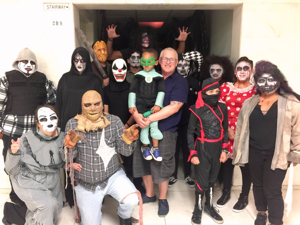 Council member Mike Bonin and son, Jacob surrounded by every type of villain possible at the West LA Police haunted house!