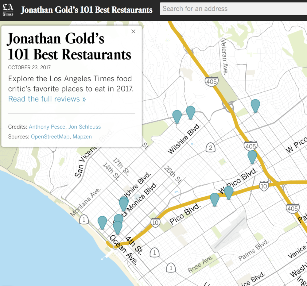 Jonathan Gold 101 Map Jonathan Gold 101 Map | Color 2018