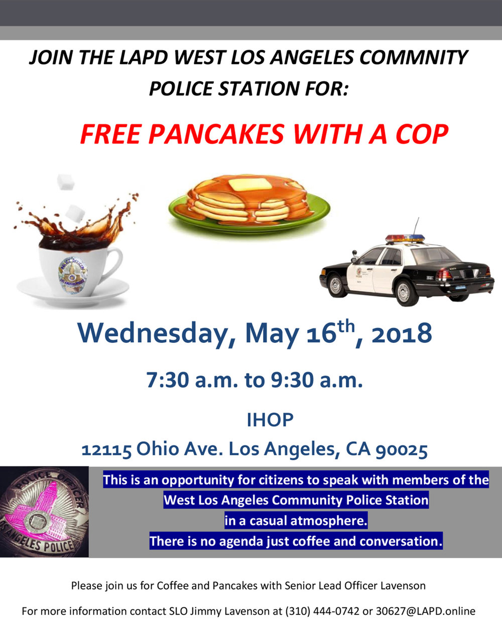 Free Pancakes with a Cop! May 16th 7:30-9:30am IHOP — WLASNC