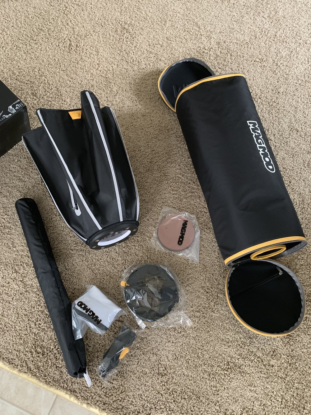 After a quick unpack. The pro kit includes almost everything you need to get started (except mag grips for your flashes).