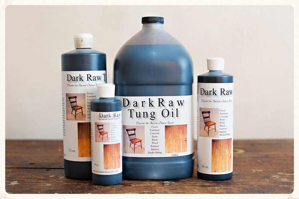 Dark raw tung oil is our favorite staining finish.