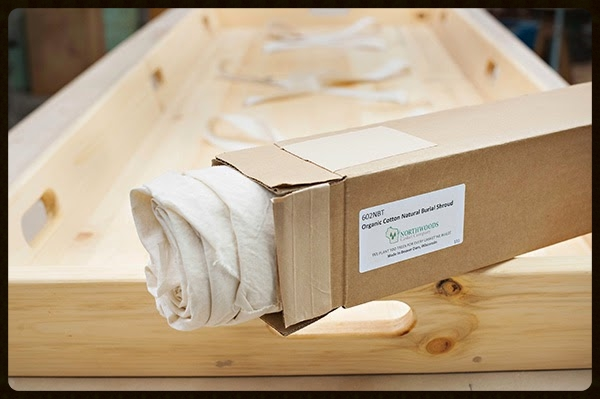Organic Cotton Burial Shroud with Wooden Trundle by the Northwoods Casket Co.