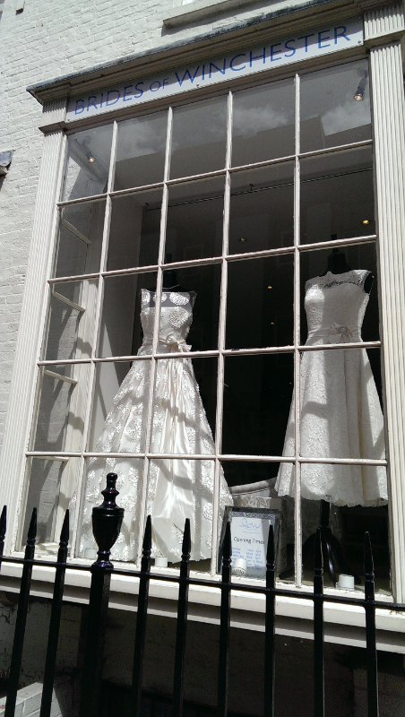 Our Drew dress looking gorgeous in the window of Brides of Winchester. They didn't even know I would be passing that day!