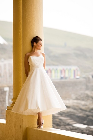 Haydn is an elegant 3/4 length silk gown with polka dot tulle overlay. Now 30% OFF so just £1238