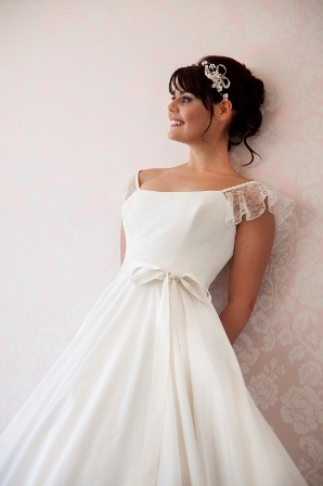 The prettiest silk dupion gown with Chantilly Lace bodice HALF PRICE so now £1062.