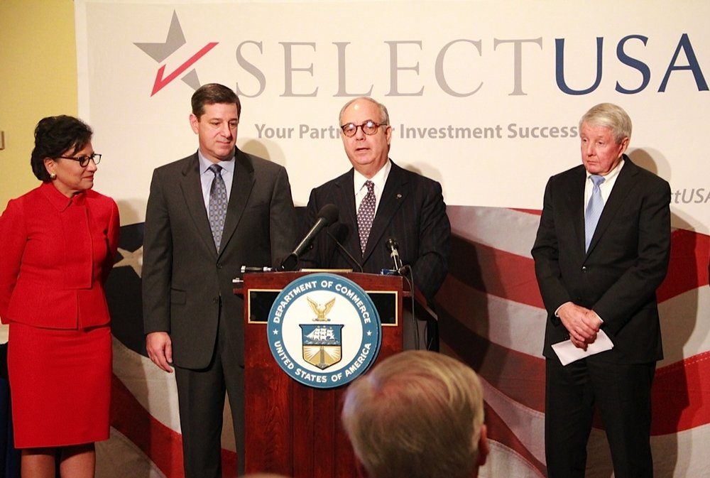 Louis Hornick II, President of LHSC, Inc., announces LHSC's plans to open a new textile manufacturing facility at the U.S. Department of Commerce's 2013 SelectUSA Investment Summit with Secretary Penny Pritzker