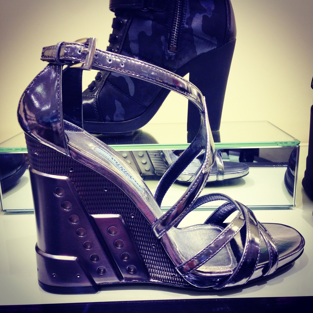 I spied these futuristic Prada wedges to complete the look at Bloomingdales. Love the sic-fi vibe of them.