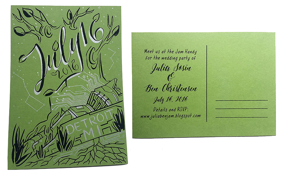 Two color Save the Date postcard, front and back