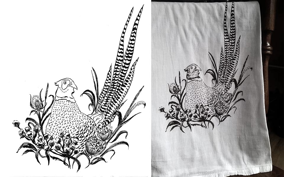 Pheasant ink drawing and screen printed tea towel
