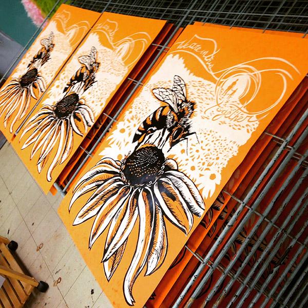 Honeybee screen print by Bec Young