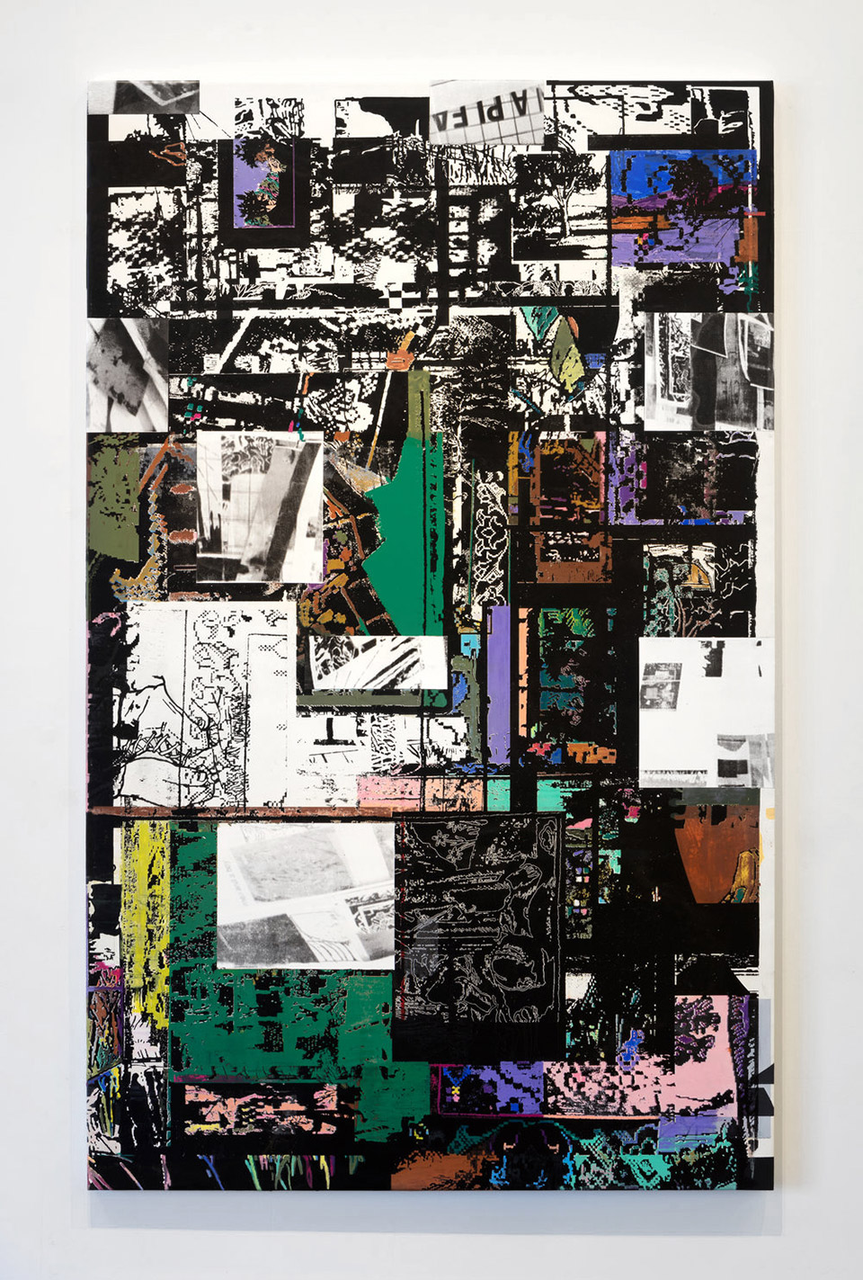 Prayer Rug, U.S. Marines Field Manual, New York Times Clippings from 2017, Grandmothers Life Magazines, Unknown Family Photos, Complimentary Auto Body Shop Floor Mat, Downloaded Perspective Grid Printed on Acetate (A Still Life),  2017, Flashe, acrylic and water-soluble pastel on canvas, 48 x 77.5 inches