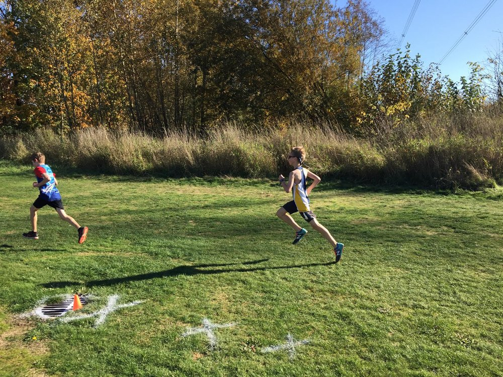 Kai Martland charges to a podium finish in the 11 year old boys race at BC XC Championships.
