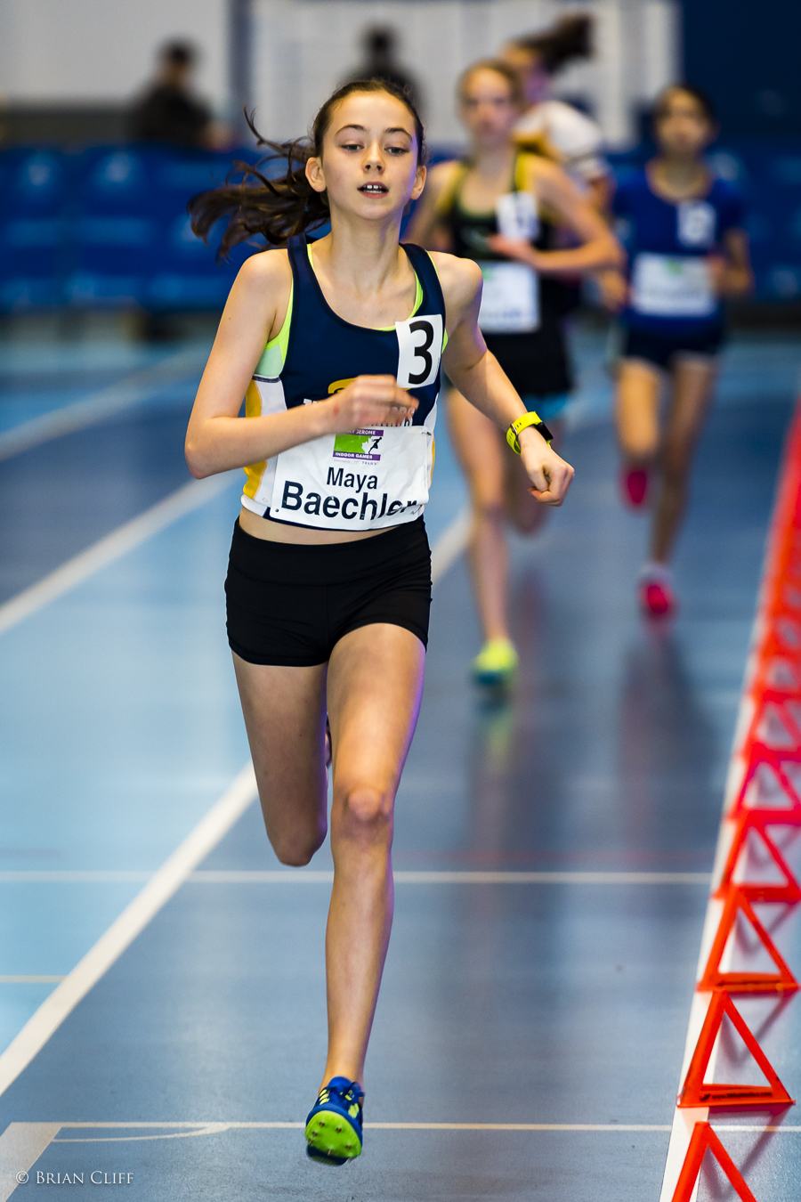 Maya Baechler en route to victory in the 1200m. Photo by Brian Cliff