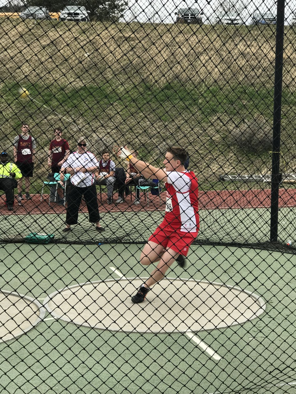 Thunderbird Athlete, Matthew Uliana competing for his school (Saint Georges) in the hammer throw at the Battle of the Border in Kamloops, BC.